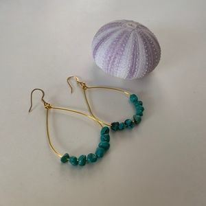 Jewelry - NWT Gold Teardrop Hoops - Faux Turquoise Stones